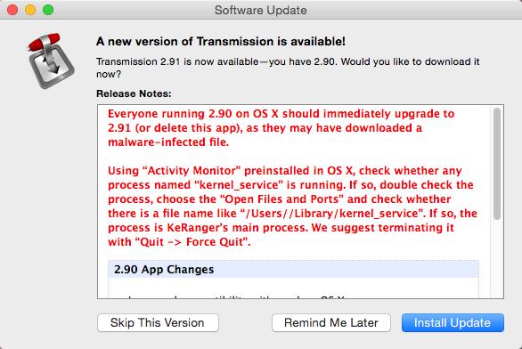 Warnmeldung der Transmission-Entwickler in Mac OS X.