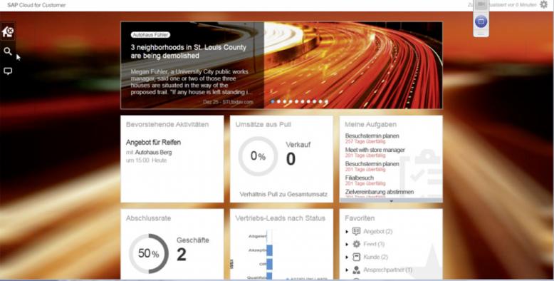 Alles auf einen Blick: Die Startseite der cormeta-Applikation Cloud-For-Customer entspricht dem neuen Nutzerverhalten und lässt sich beliebig an individuelle Bedürfnisse anpassen.