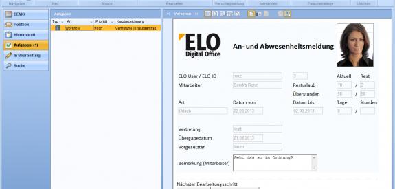 Die Integration von An- und Abwesenheitsmeldungen in ELO Workflow.