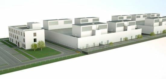 Modellbild vom neuen Rechenzentrum von noris network im Osten von München in Aschheim.