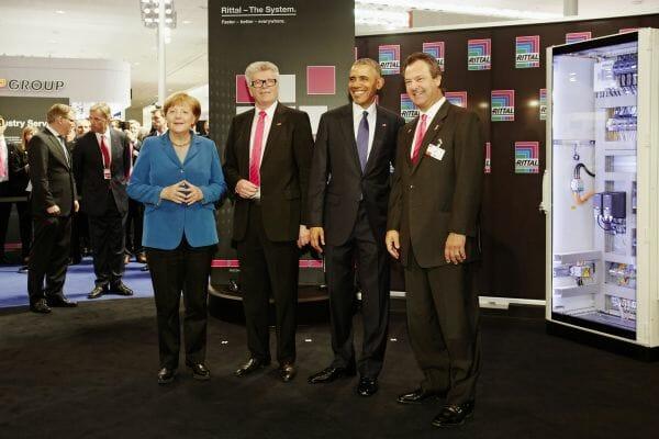 Merkel und Obama am Stand von Rittal auf der Hannover Messe 2016.