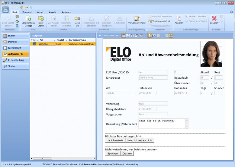 ELO-Screenshot Urlaubsantrag.