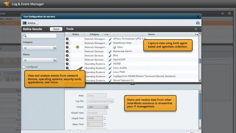 Solarwinds Log & Event Manager - Programmoberfläche