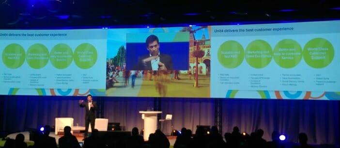 Jose Duarte, CEO von Unit4, stellte auf der Anwenderkonferenz Connect in Amsterdam am 5. April die neue ErP-Suite Unit4 Business World On! vor.